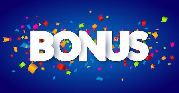 Znak bonusowy litery 3d wystrój z konfetti. karta tło projekt słowo bonus. ozdoba konfetti baner