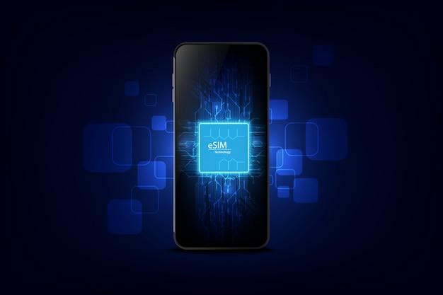 Znak chipa karty inteligentnego telefonu esim
