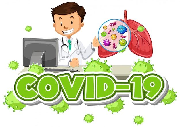 Znak covid-19 z szczęśliwym lekarzem i ludzkimi płucami