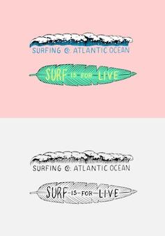 Znak deski surfingowej lato surfowania powierzchni sportów wodnych karta kalifornii rocznika grawerowane ręcznie rysowane godło