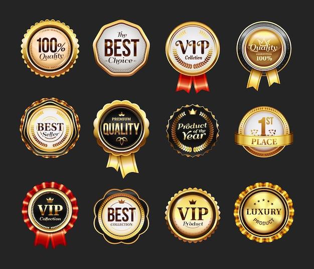 Znak dla produktu marki lub ikonę vip ze wstążką. okrągły znaczek dla najlepszej firmy. insygnia reklamowe, logo zapewniające jakość. odznaka detaliczna i handlowa, pieczęć na certyfikat, logo firmy retro