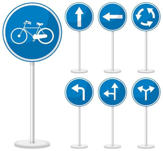 Znak drogowy niebieski na białym tle