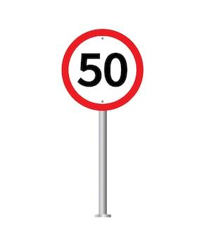 Znak drogowy ograniczenia prędkości.