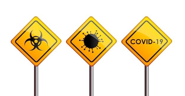 Znak drogowy ostrzegawczy wirusa covid-19 z symbolem zagrożenia