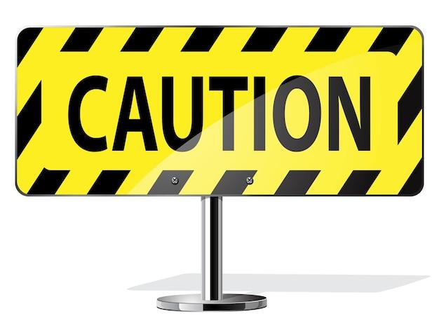 Znak drogowy uwaga. drogowy żółty znak ostrzegawczy
