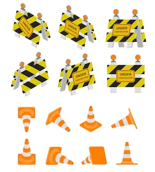 Znak drogowy w budowie i stożek drogowy. znak ostrzegawczy w widokach izometrycznych, 3d i perspektywicznych. płaska konstrukcja izometryczna. zestaw barier. różne kolory. ilustracja wektorowa.