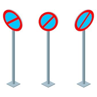 Znak drogowy zakaz czekania lub zakaz parkowania. zestaw izometryczny ilustracja na białym tle
