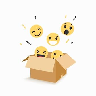 Znak emoji z różnymi wyrażeniami na ilustracji pudełka