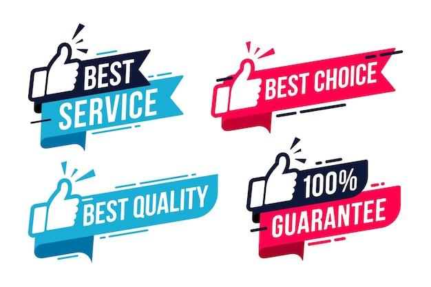 Znak etykiety najlepszej usługi dla promocji zadowolenia z banerów