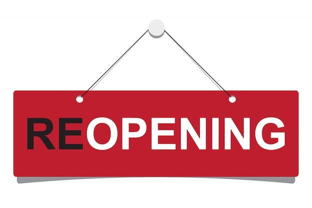 """Znak firmowy z napisem """"ponowne otwarcie"""""""
