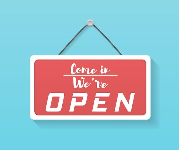 """Znak firmowy z napisem """"wejdź, jesteśmy otwarci"""". obraz różnych znaków biznesowych otwartych i zamkniętych. szyld z liną."""
