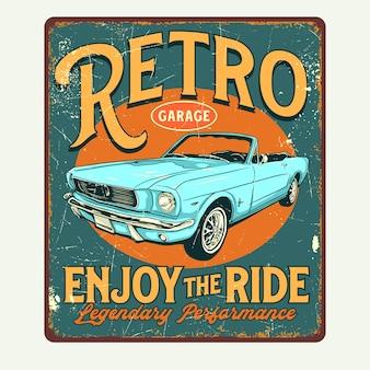 Znak graficzny retro garaż plakat