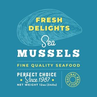 Znak jakości premium fresh seafood delights. układ projektu opakowania.