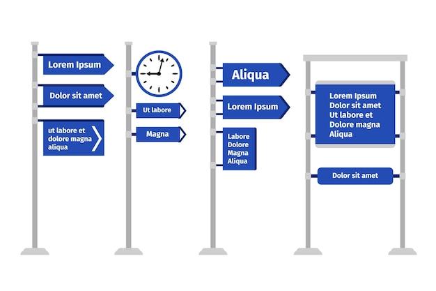 Znak kierunku drogowego zestaw ilustracji. różne rodzaje znaków drogowych i drogowskazów, strzałki i tablice izolowane