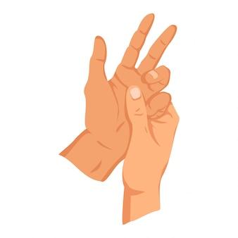 Znak kobiecej dłoni. znak gest ludzkiego palca. język migowy