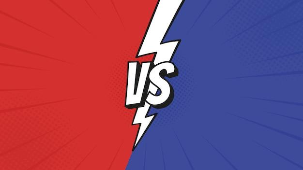 Znak kontra vs z błyskawicą na tle walki w płaskiej stylistyce komiksowej z półtonami, błyskawicą.