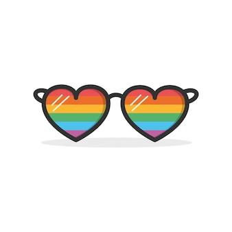 Znak lgbt z białym tłem. ikona okularów w kolorach flagi dumy lgbt