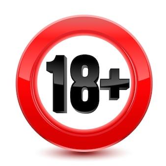 Znak limitu wieku lub ikona na czerwono