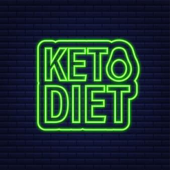 Znak logo diety ketogenicznej. dieta keto. neonowa ikona. ilustracja wektorowa.