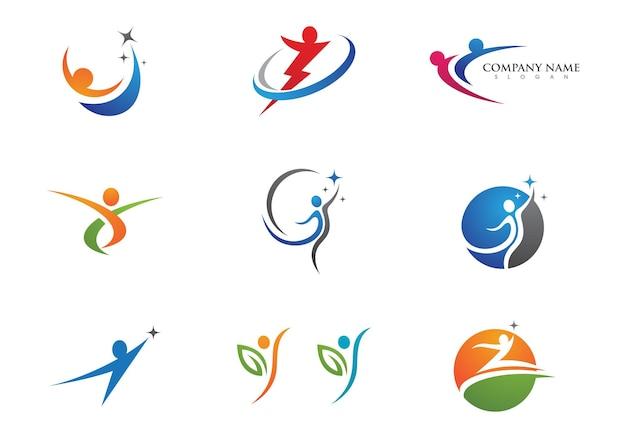 Znak logo ludzkiego charakteru znak logo opieki zdrowotnej.
