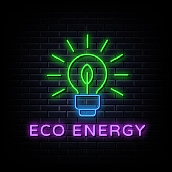 Znak logo neon eco energy zaprojektuj szablon w stylu neonowym