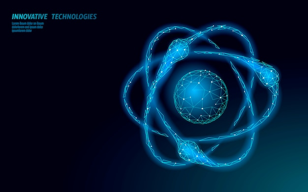 Znak nauki struktury atomu. e-learning odległość absolwent koncepcja online. low poly 3d renderowania fizyki chemia projekt szablon transparent. ilustracja stopnia edukacji internetowej