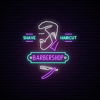 Znak neon barbershop.