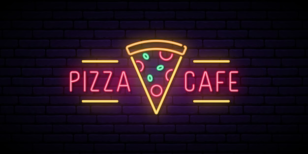 Znak neon cafe pizzy.