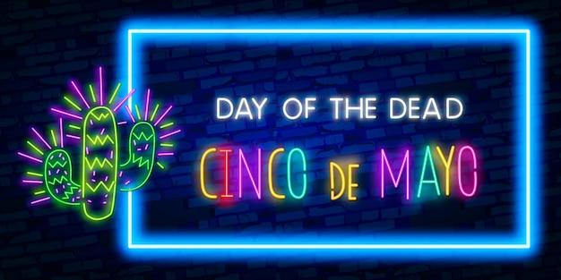 Znak neon cinco de mayo