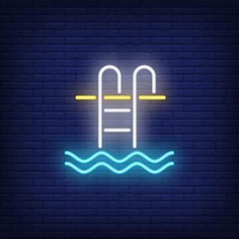 Znak neon drabiny basen
