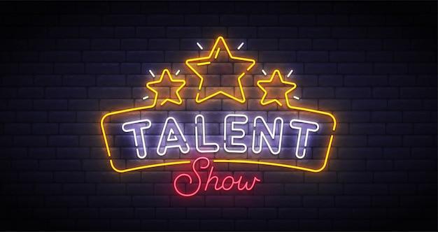 Znak neon pokaż talent show