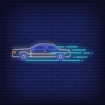 Znak neon prędkości maszyny
