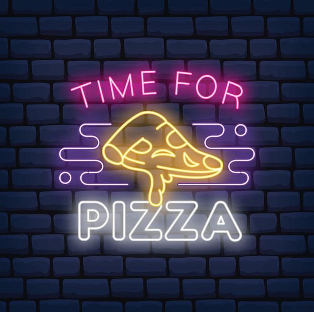 Znak neon restauracja pizzy