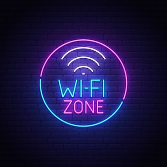 Znak neon wi-fi