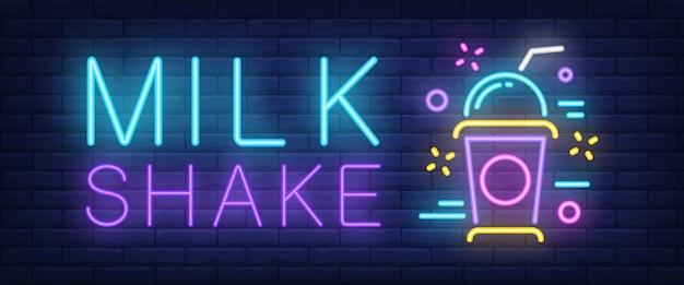 Znak neonowy shake mleka