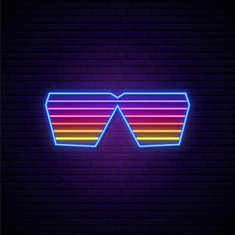 Znak neonowych okularów migawkowych