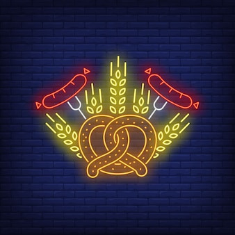 Znak neonu precla, kiełbasy i jęczmienia