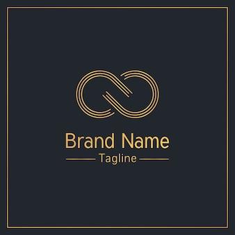 Znak nieskończoności złoty elegancki szablon logo