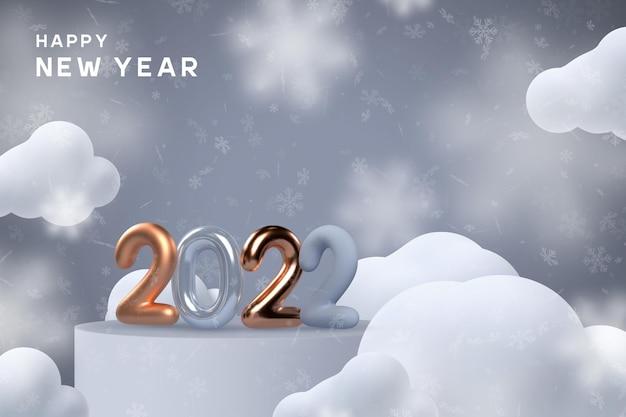 Znak nowego roku 2022. 3d metaliczny złoty lub miedziany z niebieskimi numerami stojącymi na podium w chmurach i płatkach śniegu. ilustracja wektorowa.