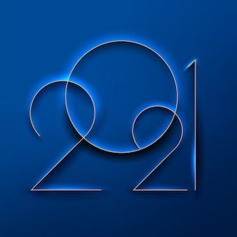 Znak nowego roku wytłoczone numery nowego roku na klasycznym niebieskim tle