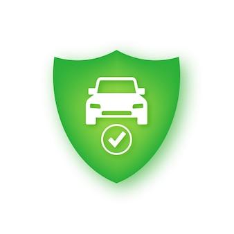 Znak osłony samochodu, ubezpieczenie od kolizji pojazdu. bezpieczna straż.