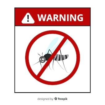 Znak ostrzegawczy komara z płaskiej konstrukcji