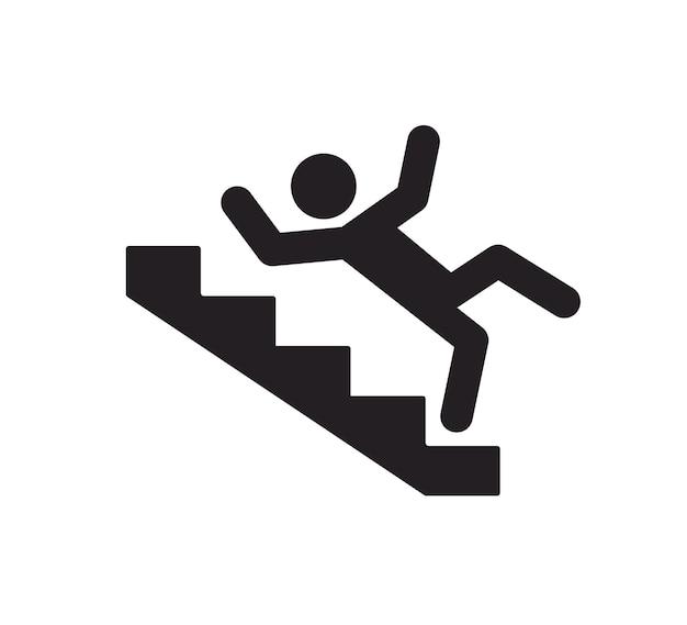 Znak ostrzegawczy na schodach mężczyzna spadający ze schodów znak ostrzegawczy przed niebezpieczeństwem ikona śliskich schodów