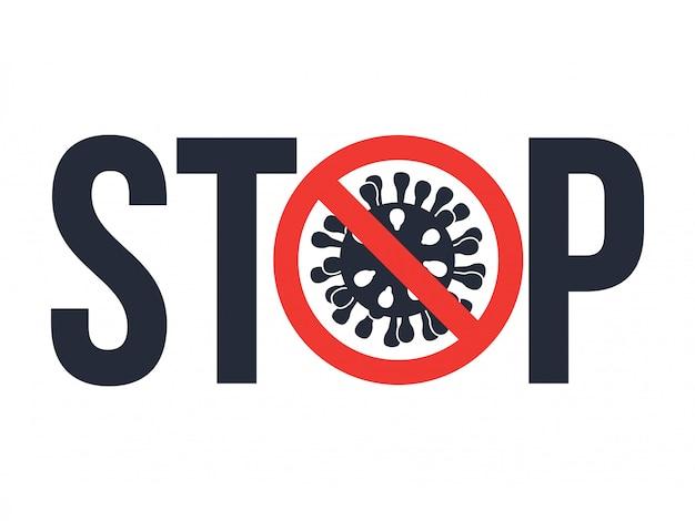 Znak ostrzegawczy zatrzymaj covid-19 ikoną coronavirus.
