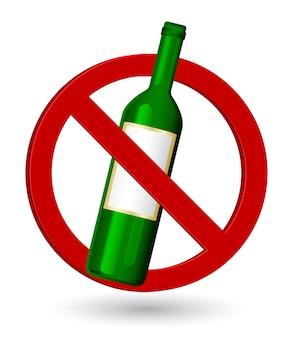 Znak ostrzegawczy zatrzymania butelki winorośli