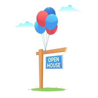 Znak otwarty dom i balony