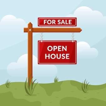 Znak otwarty dom nieruchomości