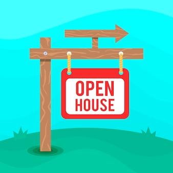 Znak otwarty dom ze strzałką