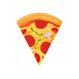 Znak plasterek pizzy. ilustracja kreskówka.
