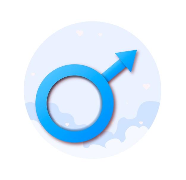 Znak płci męskiej na niebieskim tle relacje między mężczyznami i kobietami kreatywna sztuka papieru 3d